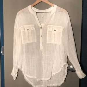 Free People White Button Down Shirt